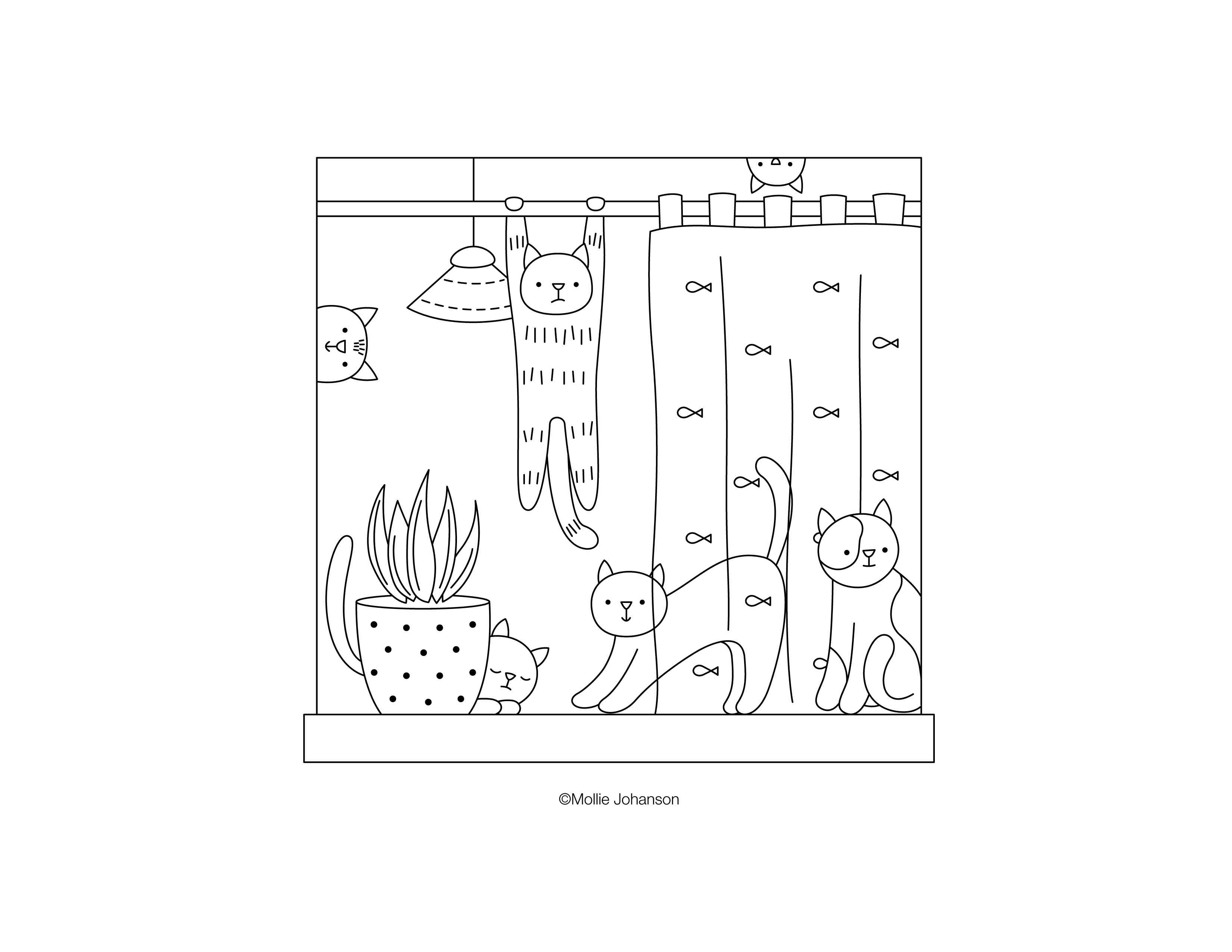 Cats in the Window Embroidery Pattern