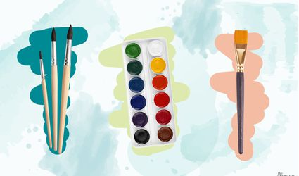 Photo composite of a watercolor palette and different paintbrushes