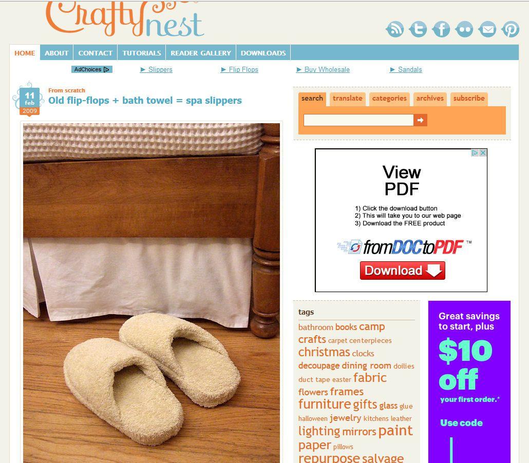 Old Flip Flops Bath Towel Spa Slippers