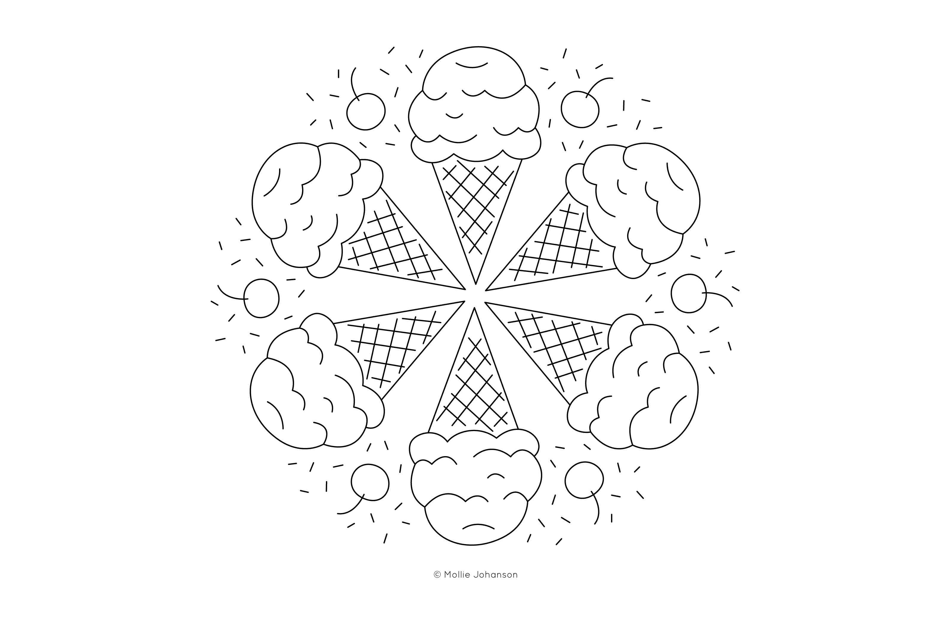 Ice Cream Cone Mandala Free Embroidery Pattern