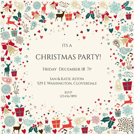 a printable christmas party invitation with little christmas motifs