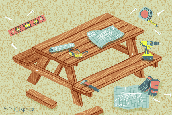 Illustration of a picnic bench and tools
