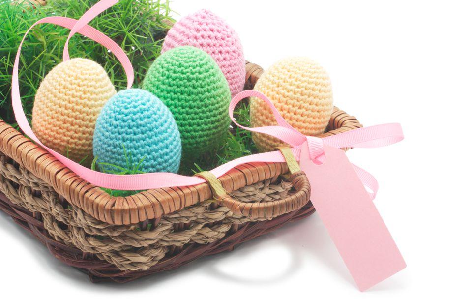 Crochet Easter eggs in basket