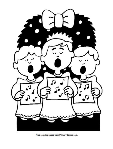 Primary Games Christmas Coloring Pages A Trio Of Carolers