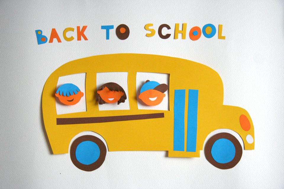 Back to school, yellow bus with kids