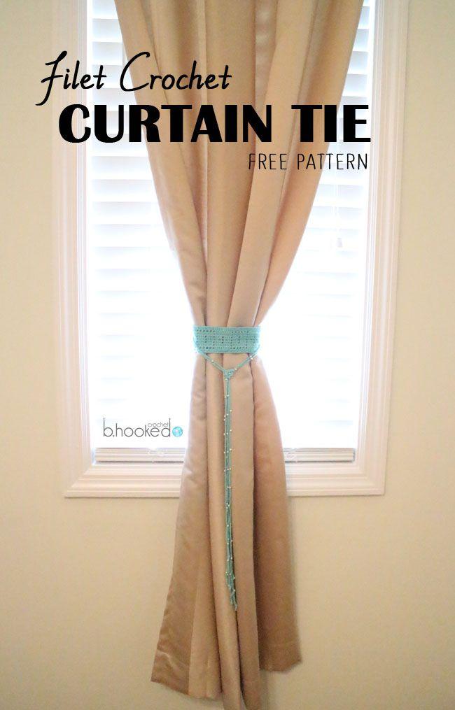 filet crochet curtain tie-back free pattern