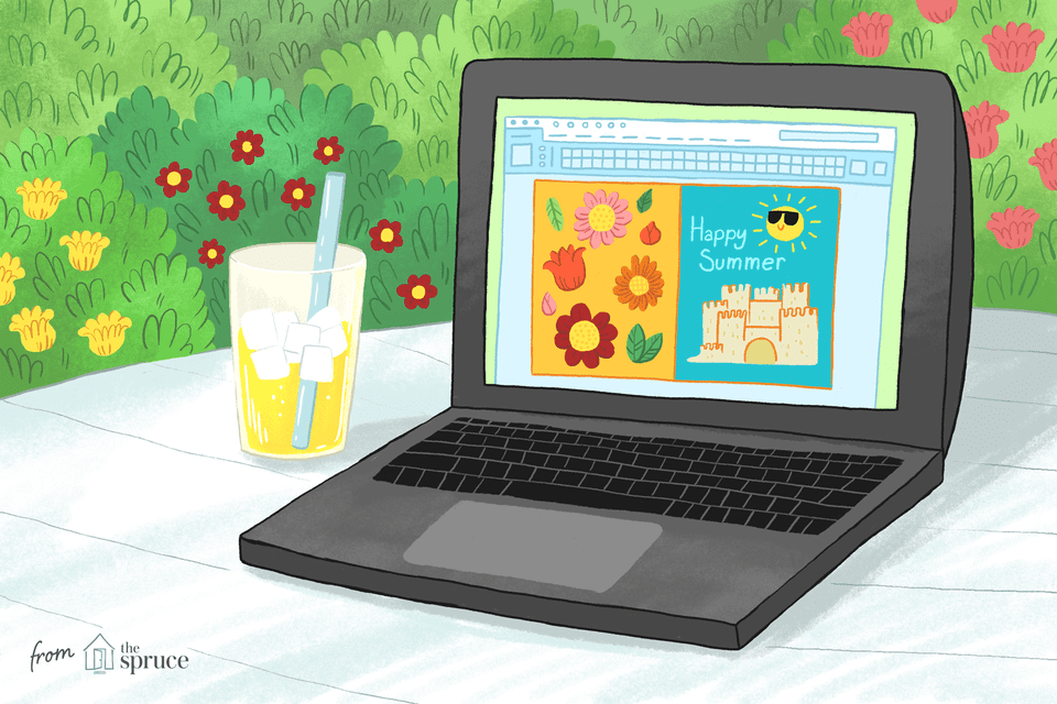 Illustration of a laptop sitting outside near a glass of lemonade with summer clip art on the screen.