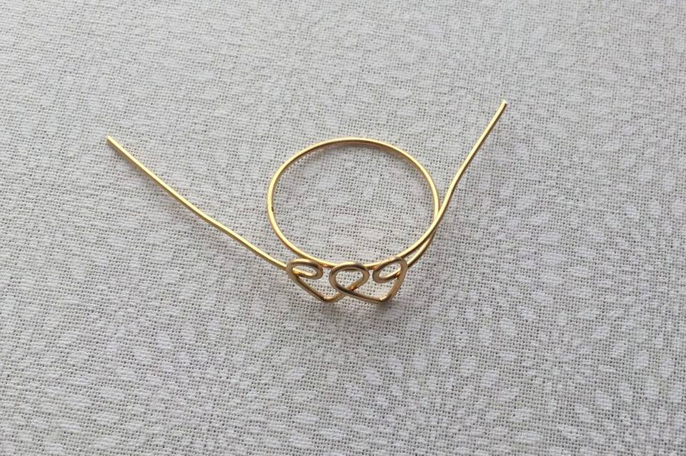 DIY Linked Double Heart Wire Ring