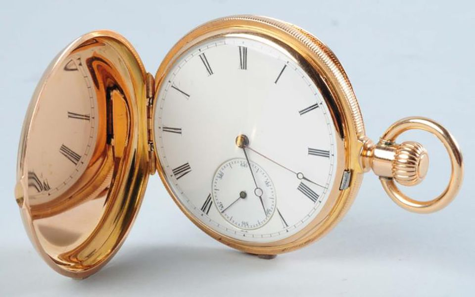 A Patek Philippe 18K yellow gold pocket watch hunting case