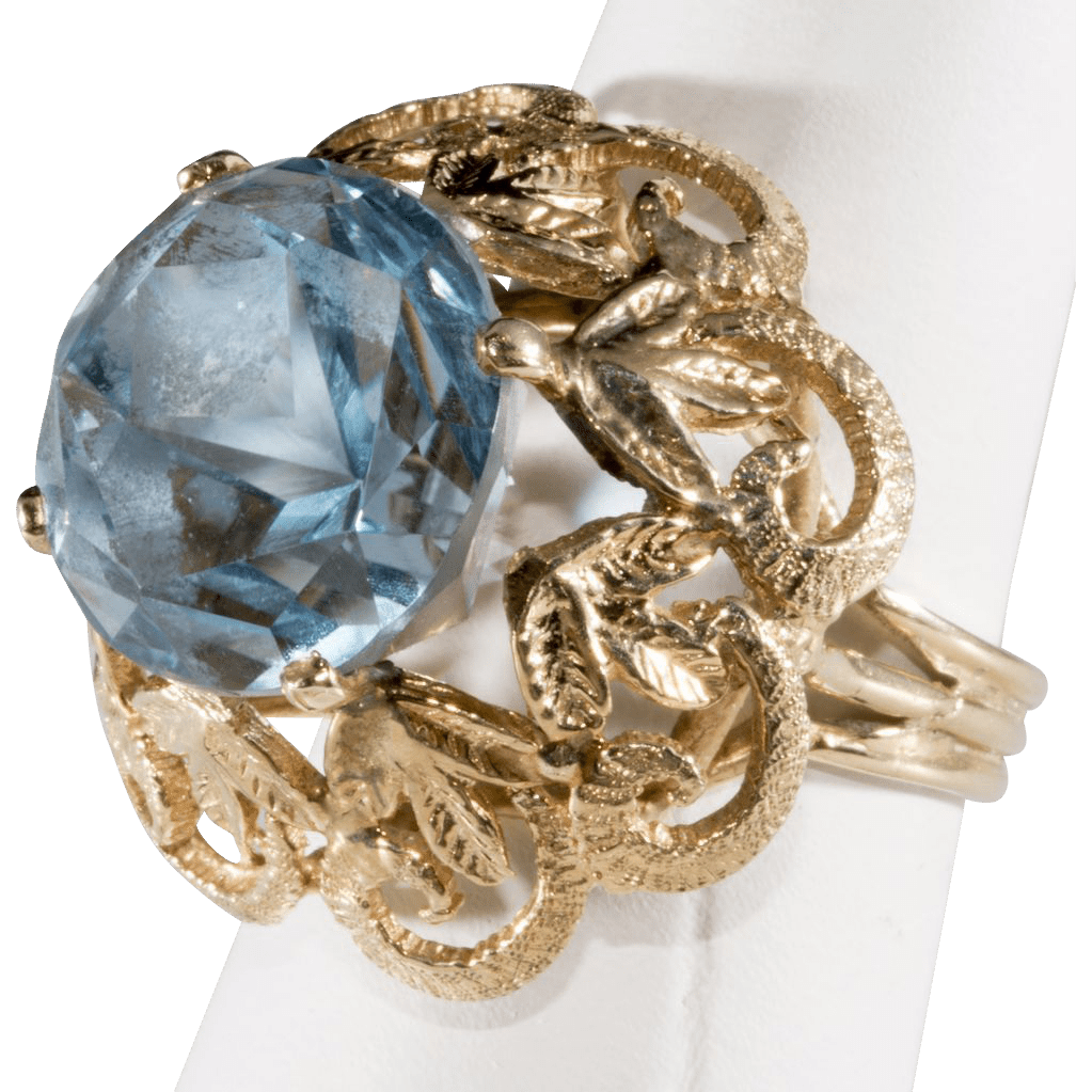 Ring with Star Cut Blue Topaz in 10K Setting, 1960s