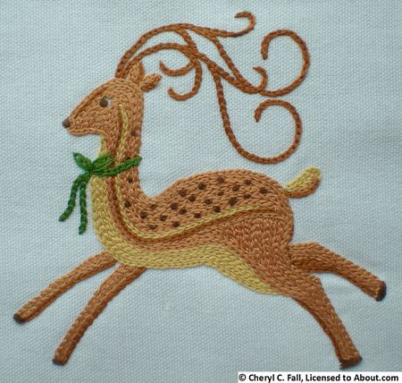 Work This Simple Deer Pattern In Your Embroidery