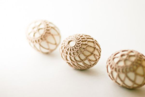 Crochet-covered Easter eggs