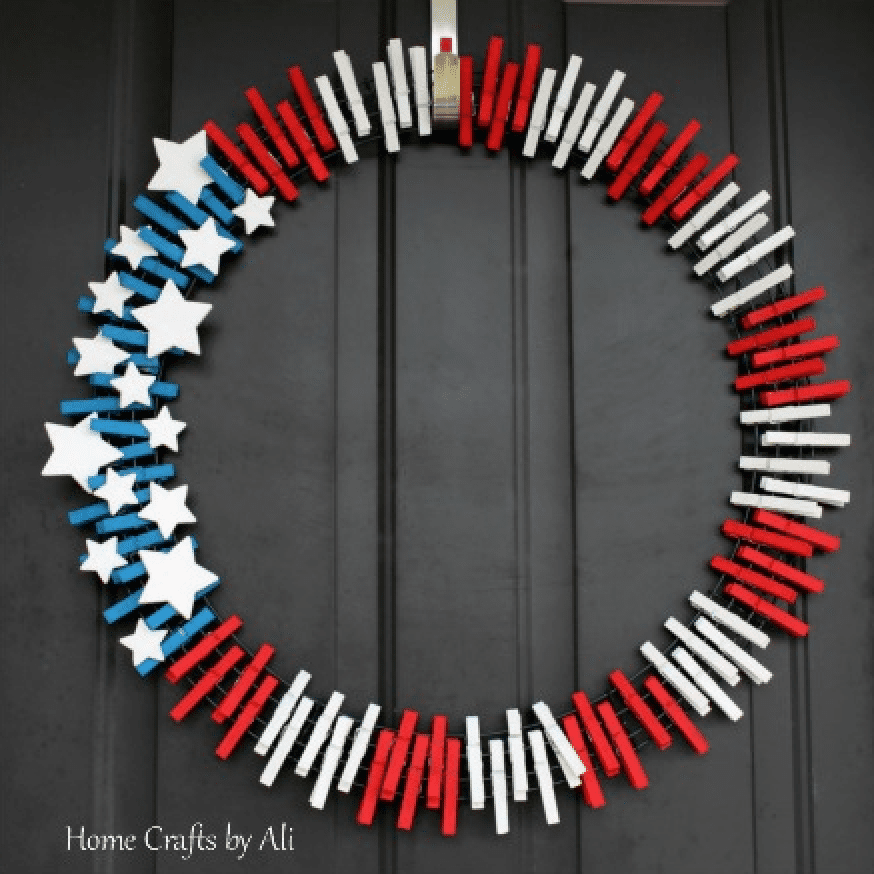 a wreath made of paper clips in American flag style