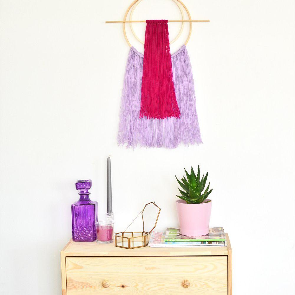 DIY Embroidery Hoop Yarn Wall Hanger