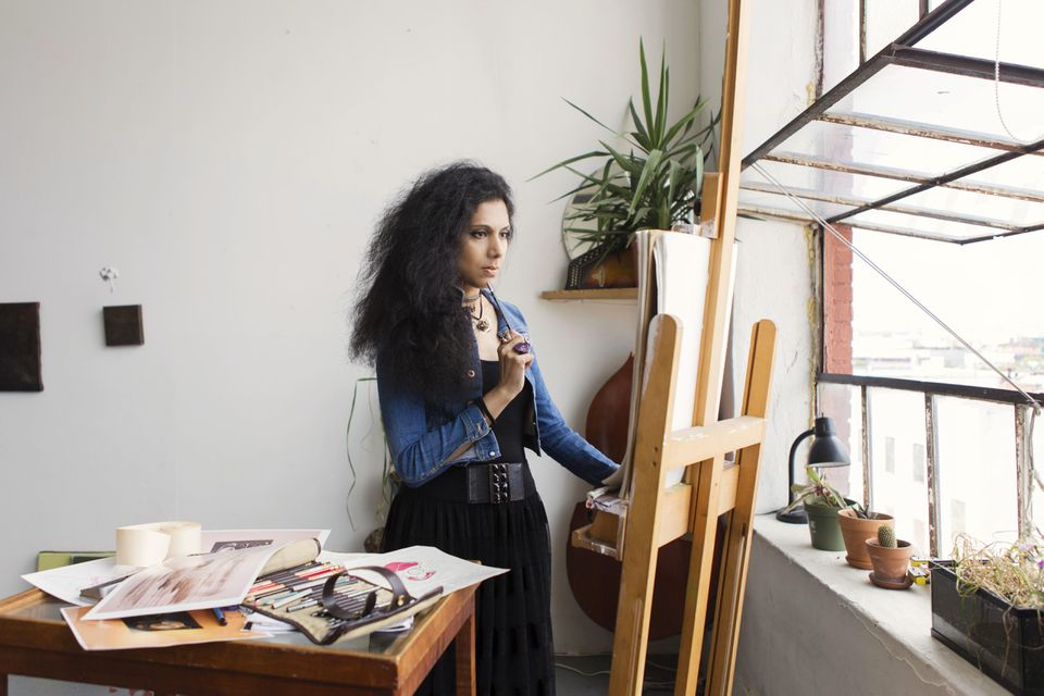 #MuslimGirl Artist Sketching In Beautiful Studio Loft