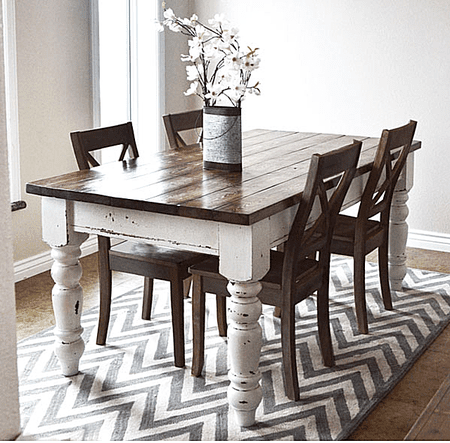 Free DIY Woodworking Plans For A Farmhouse Table - White and wood farmhouse table