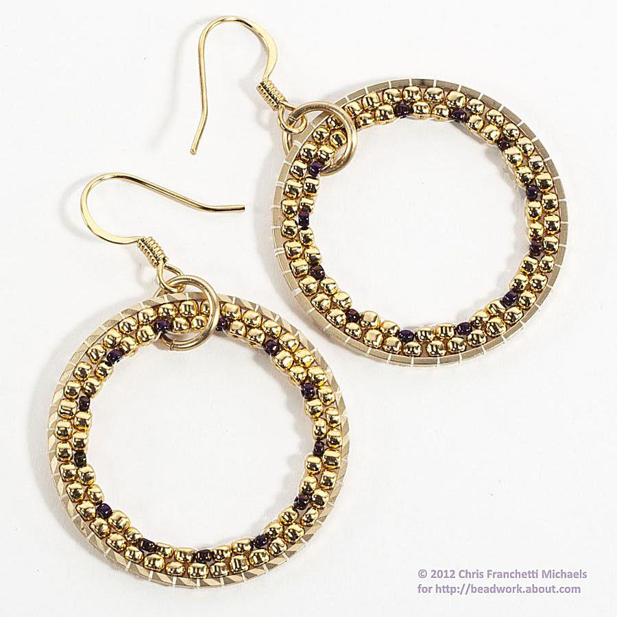 brick stitch hoop earring tutorial