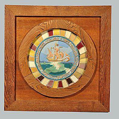 Rookwood Faience Rondel Ship Scene Tile