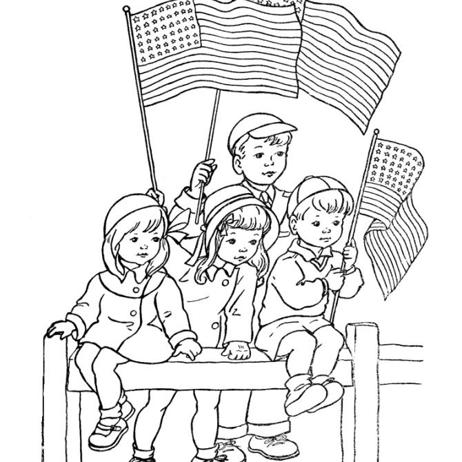 Children holding American flags