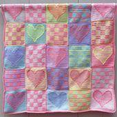 Heart Sampler Baby Blanket