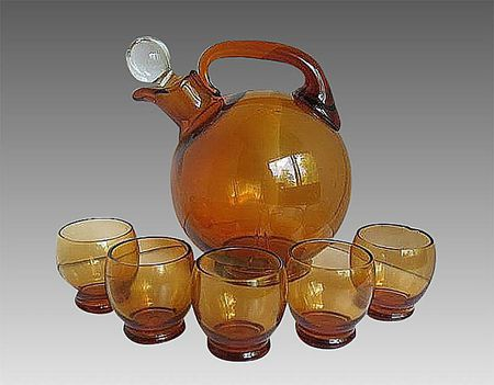 cambridge amber ball decanter with glasses - Cambridge Glass