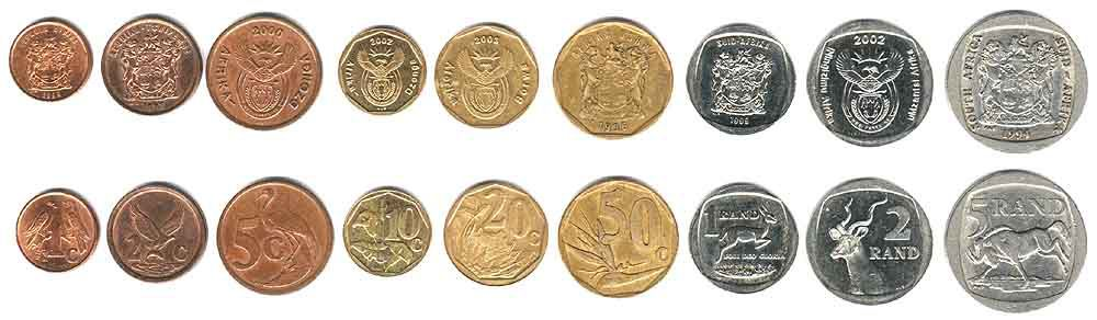These coins are currently circulating in South Africa as money.