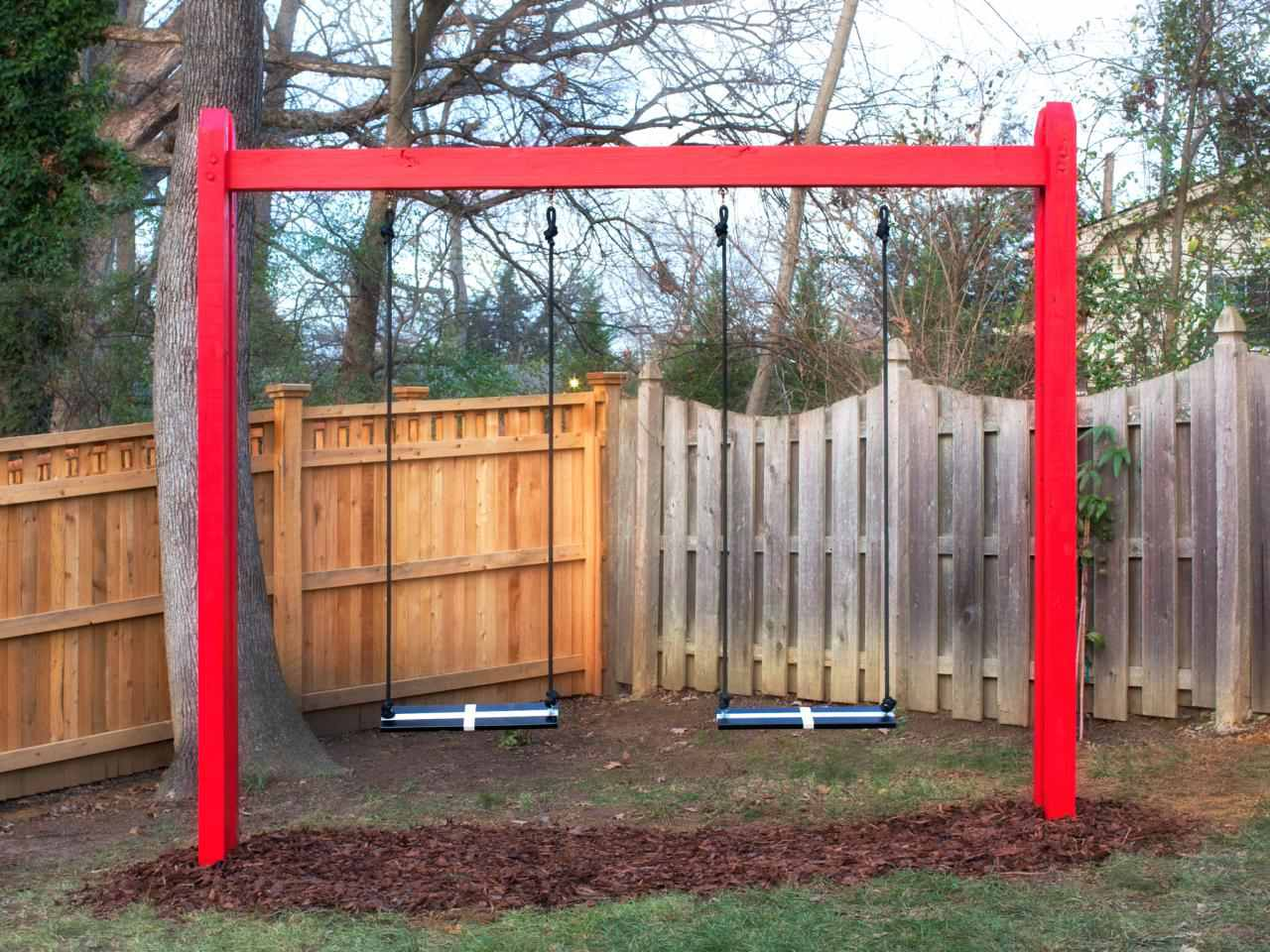 A basic wooden swing set