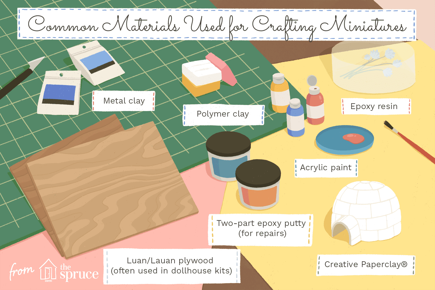 Illustration of common materials used for making miniatures