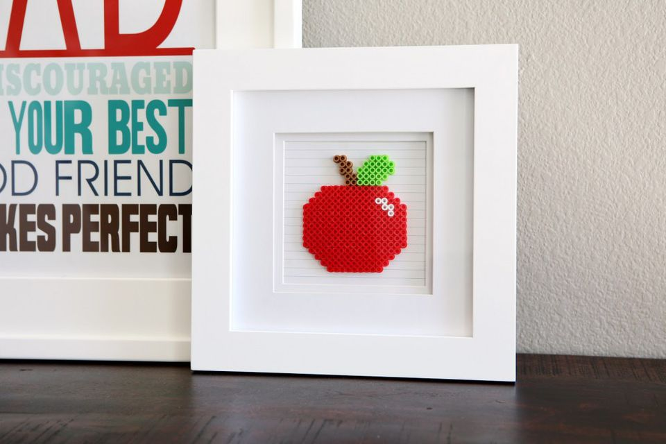 Framed Perler Bead Apple