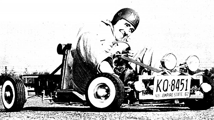 Black and white picture of a go-cart