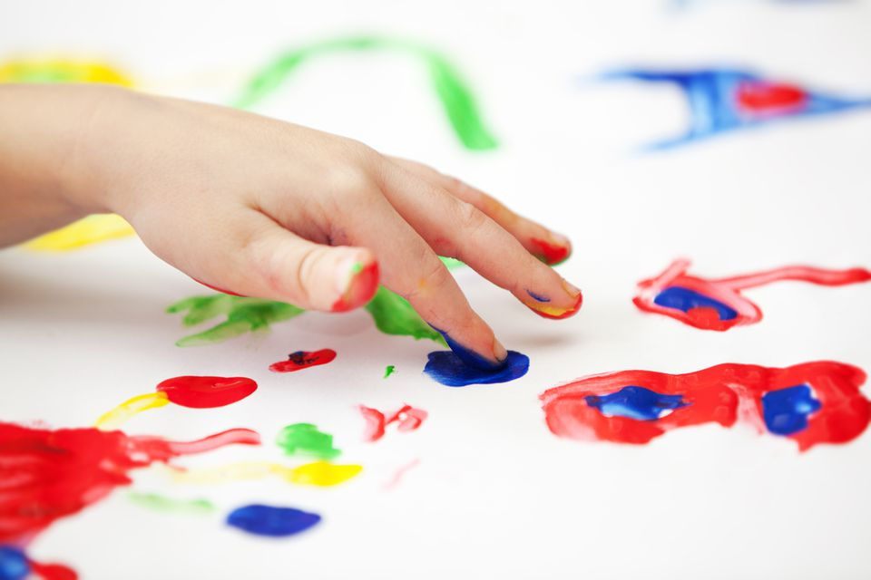 Kid's hand finger painting