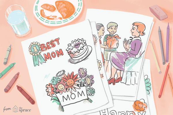 Illustration of colored in Mother's Day coloring pages next to colored pencils and a plate of orange slices