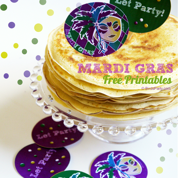 Mardi Gras Party Tags on Top of Pancakes
