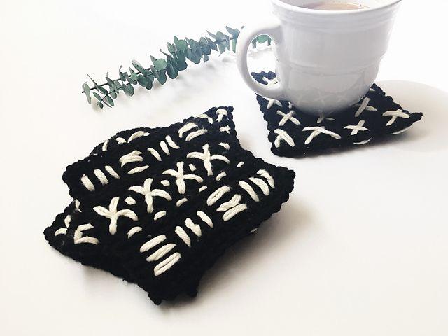Mud Cloth Crochet Coasters Free Pattern