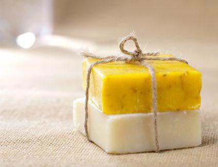 natural homemade herbal soap bars tied