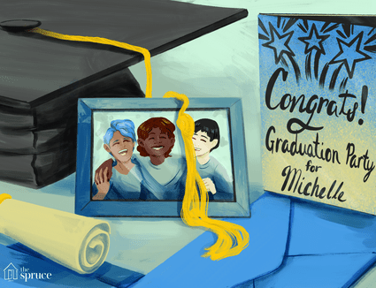 An illustration of a graduation party incite and a cap and diploma with an image of family
