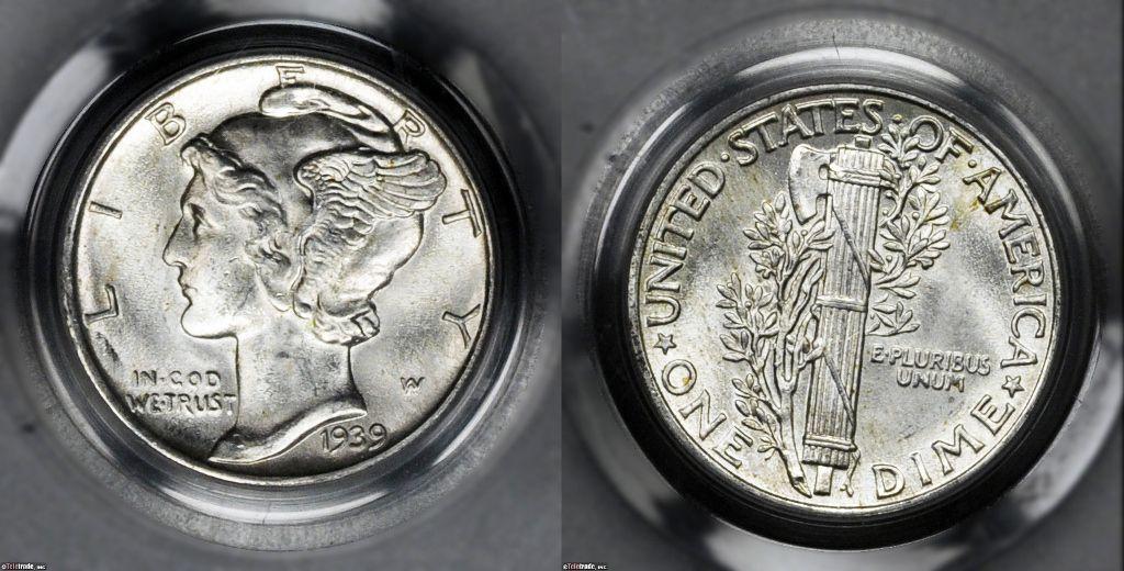 Mercury Dime Graded Mint State-63 (MS63)