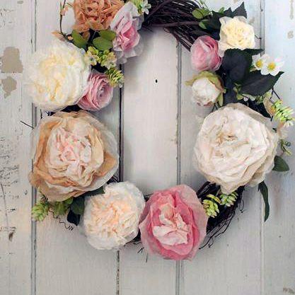 coffee filter flower wreath