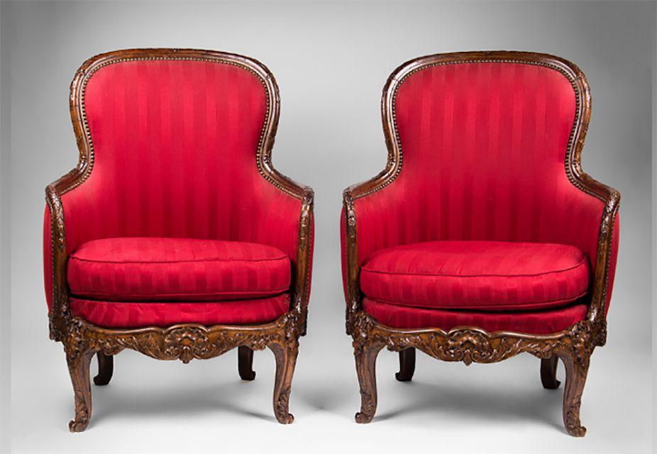 Pair of Late 19th C. Louis XV Bergeres