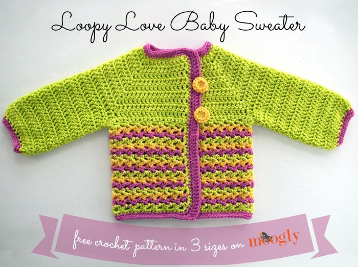 f8243ac0aa4 Loopy Love Baby Sweater Free Crochet Pattern