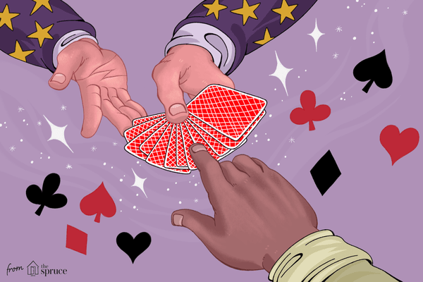 An illustration of hands doing a card trick