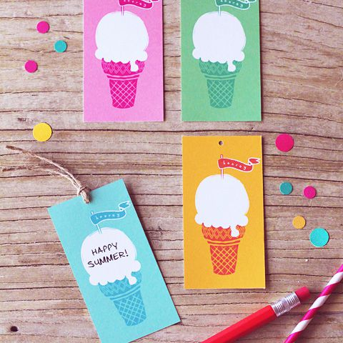 Colorful Ice Cream Gift Tags With Confetti