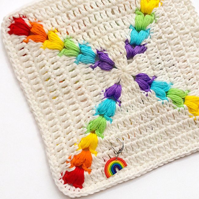 Rainbow Puff Square Free Crochet Pattern