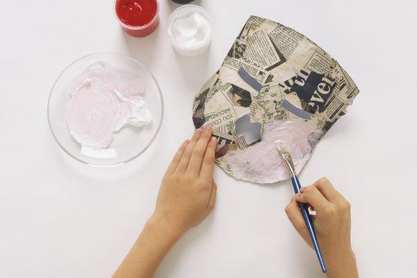 Painting papier-mache mask