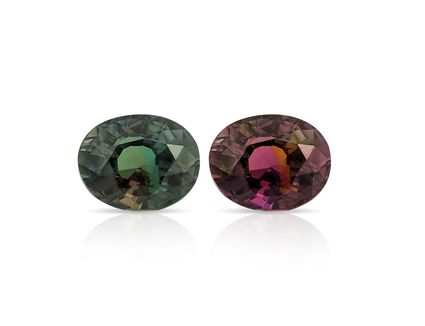 Two alexandrite gemstones