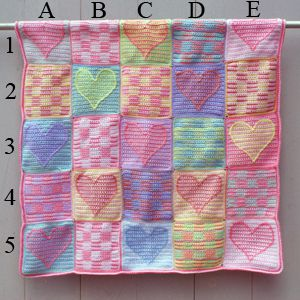 Crocheted Heart Sampler Baby Afghan