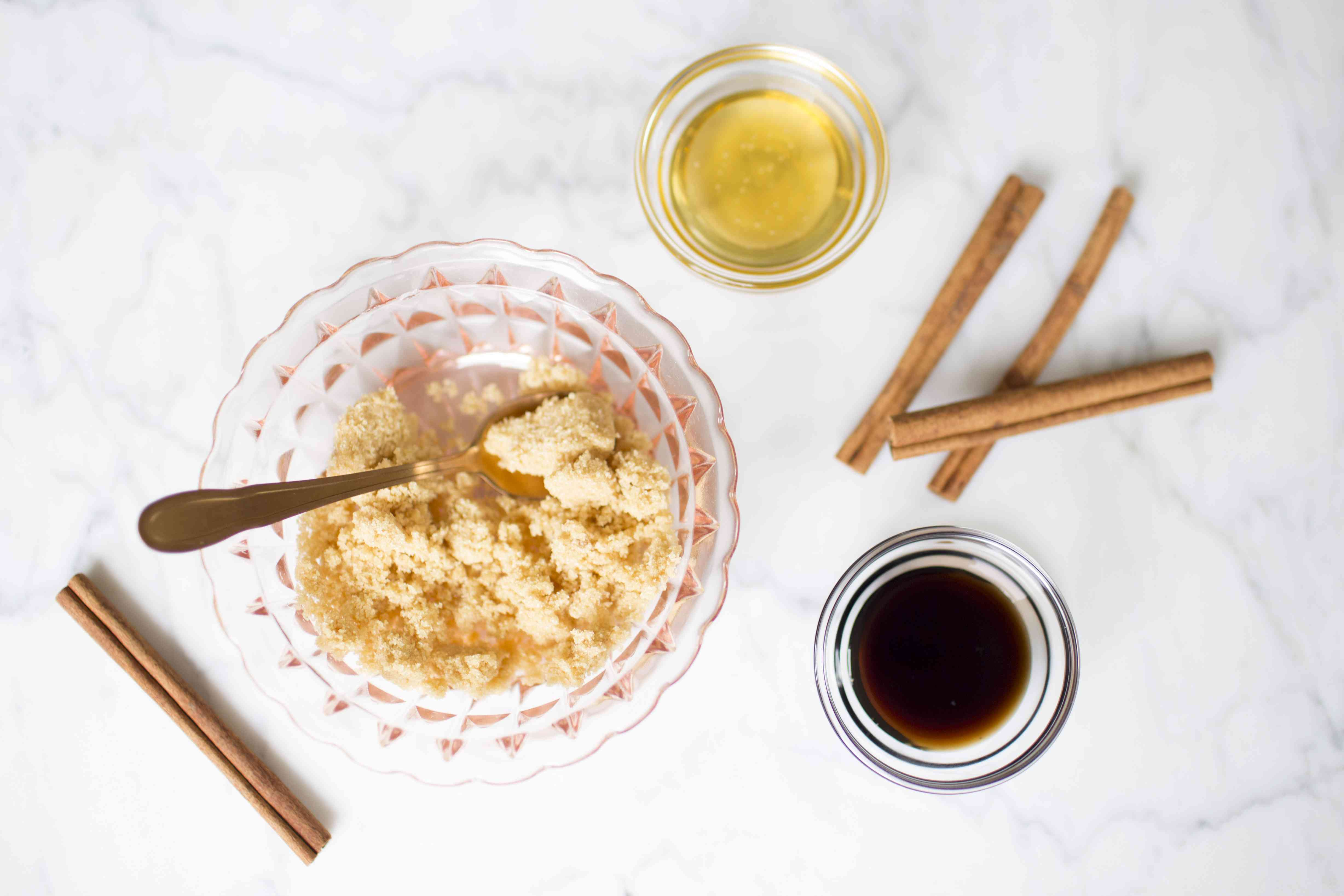 Ingredients for a DIY face scrub