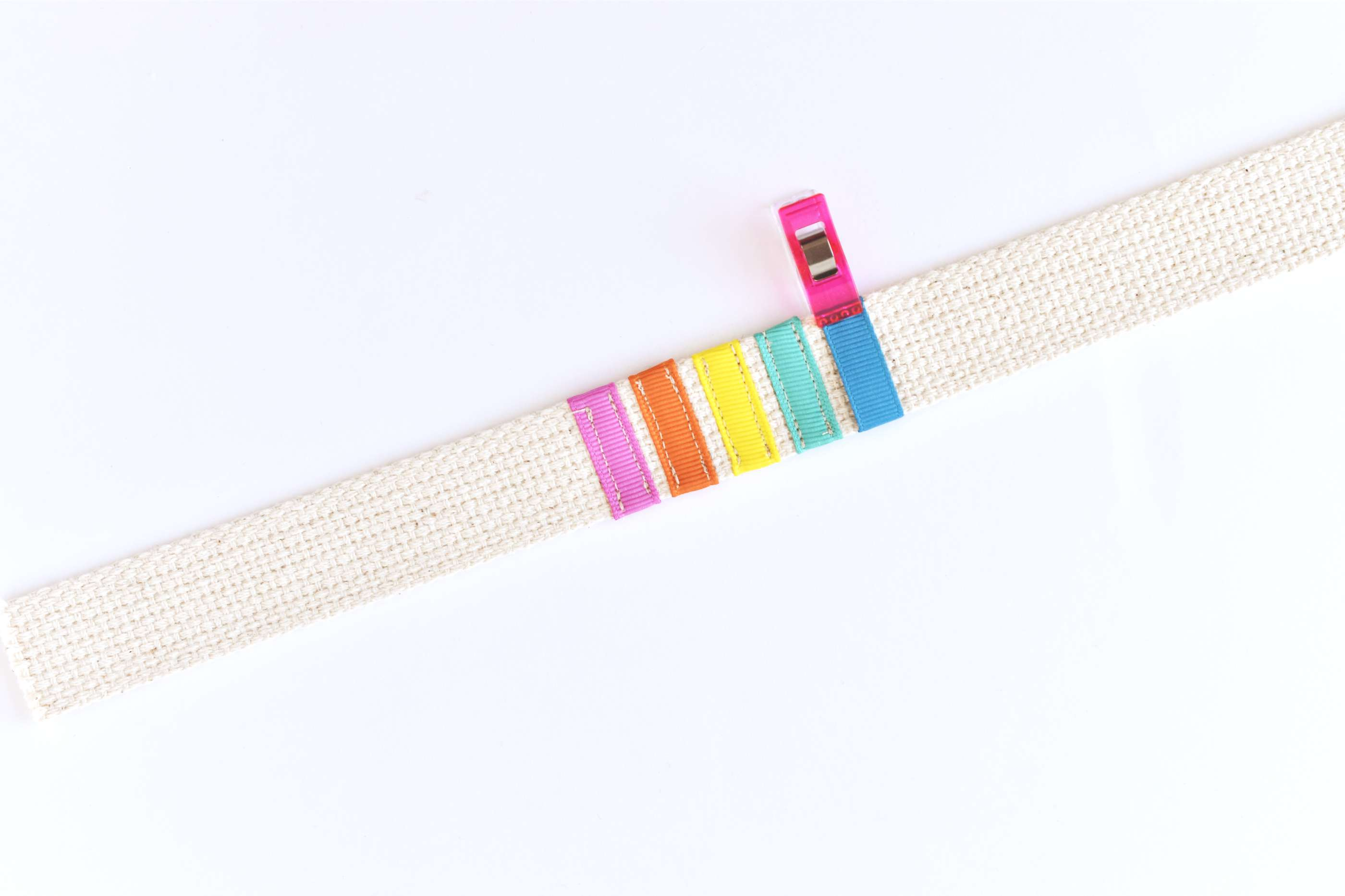 Sew Ribbon Strips Around the Strapping