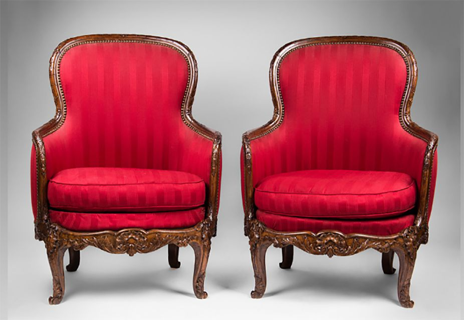 Pair of Late 19th C. Louis XV Bergeres