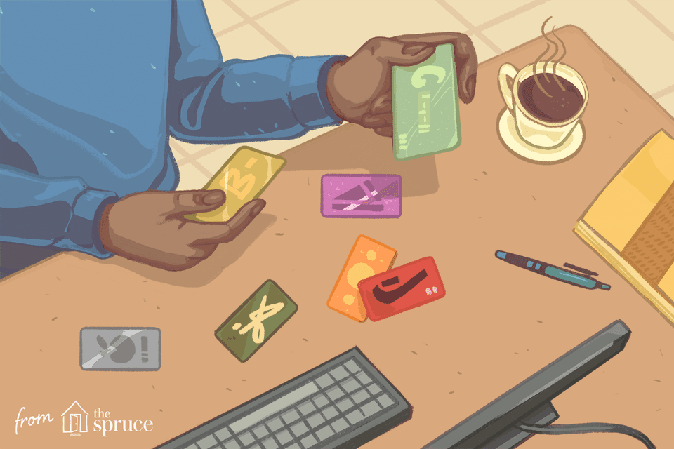 Illustration of person with gift cards